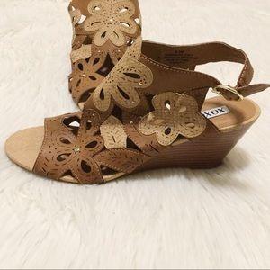 Floral Cutout Wedge Sandals